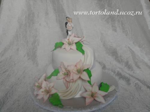 Свадебный с лилиями свадебные торты